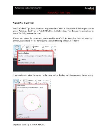 AutoCAD Tool Tips - Autodesk International Communities
