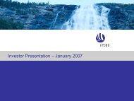 Investor Presentation – January 2007