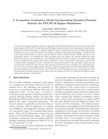 A G-equation Combustion Model Incorporating Detailed Chemical ...