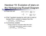Handout 19: Evolution of stars on the Hertzsprung-Russell Diagram
