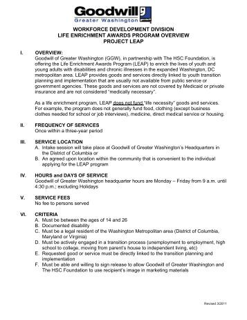 Goodwill application for employment