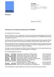 Einladung zur Informationsveranstaltung der PV-PROMEA