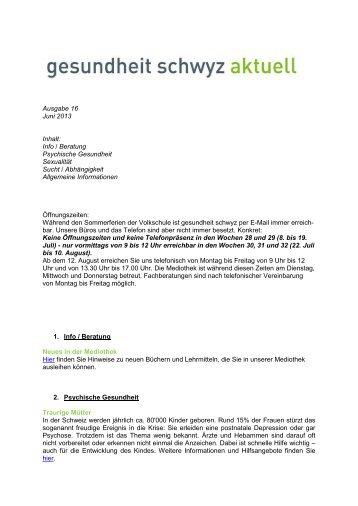 Ausgabe 16 Juni 2013 Inhalt: Info / Beratung Psychische ...