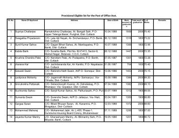 Provisional Selection/Rejection list for the post of Office ... - Cuttack