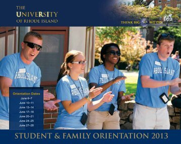 STUDENT & FAMILY ORIENTATION 2013 - University of Rhode Island