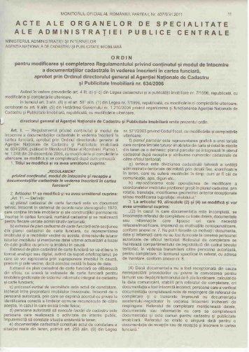 Ordinul nr 785 din 2011 - Agentia Nationala de Cadastru si ...