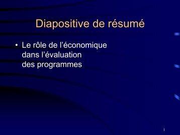 Le rôle de l'économique dans l'évaluation des programmes