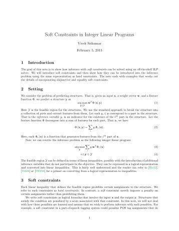 Soft Constraints in Integer Linear Programs