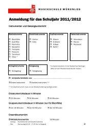 Anmeldung für das Schuljahr 2011/2012