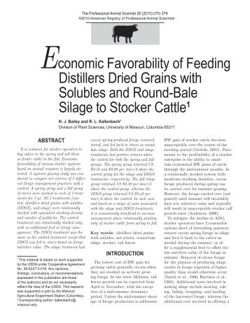 Economic favorability of feeding distillers dried grains with solubles ...