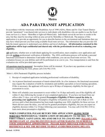 DRAFT ADA PARATRANSIT APPLICATION - Metro Transit