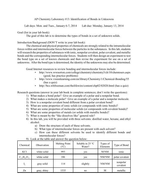 Ap Chemistry Laboratory 13 Molar Mass By Freezing Point