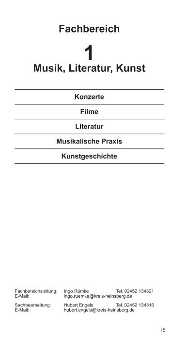 Fachbereich Musik, Literatur, Kunst - VHS Kreis Heinsberg