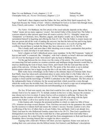 Hans Urs von Balthasar, Credo, chapters 1, 2, 10 Telford Work ...