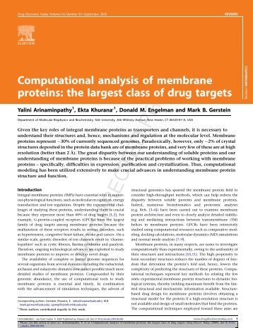 Computational analysis of membrane proteins: the largest class of ...