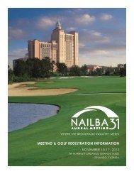 MEETING & GOLF REGISTRATION INFORMATION - Nailba