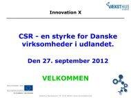 CSR - en styrke for Danske virksomheder i udlandet - Innovation X