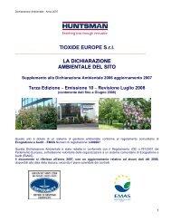 TIOXIDE EUROPE S.r.l. LA DICHIARAZIONE AMBIENTALE DEL SITO