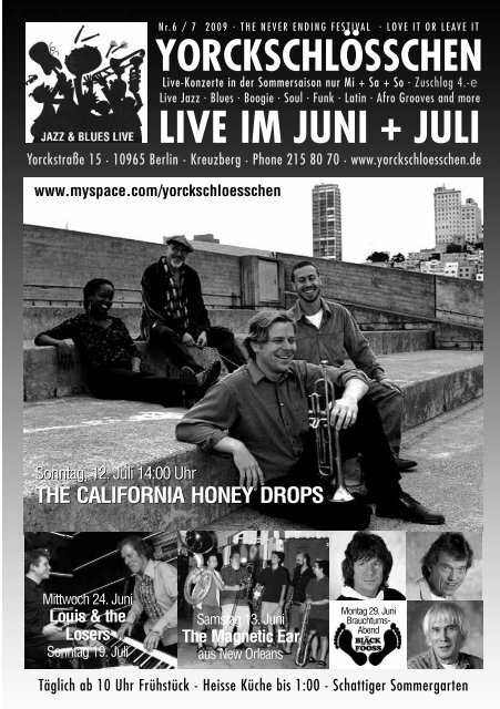 LIVE IM JUNI + JULI - Yorckschlösschen
