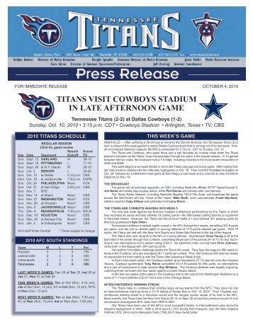 titans visit cowboys stadium in late afternoon game - NFL.com