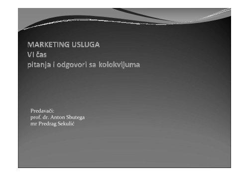 MARKETING USLUGA VI CAS