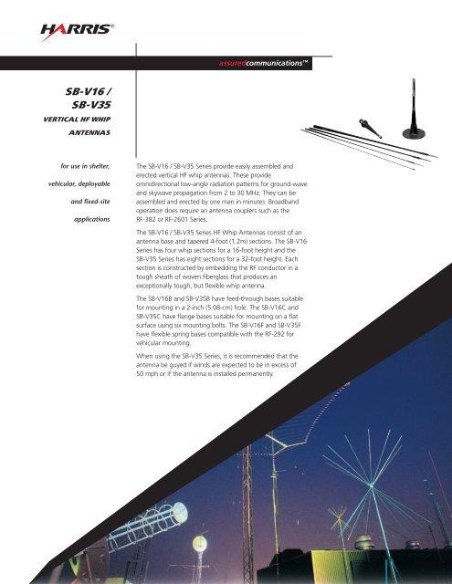 SB-V16/SB-V35 Vertical HF Whip Antennas Data Sheet - Harris RF