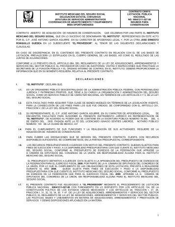 contrato modificatorio - Portal de compras del IMSS ®inicio - Imss