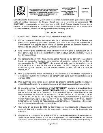 el contrato - Portal de compras del IMSS ®inicio - Imss
