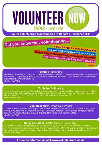 Youth Opportunities Belfast - Volunteer Now
