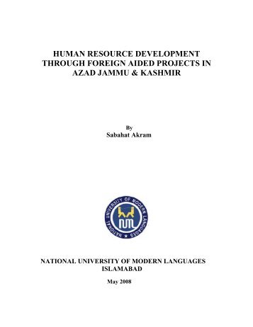 human resource development through foreign aided projects in ...