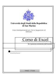 Corso di Excel - Università degli Studi della Repubblica di San Marino