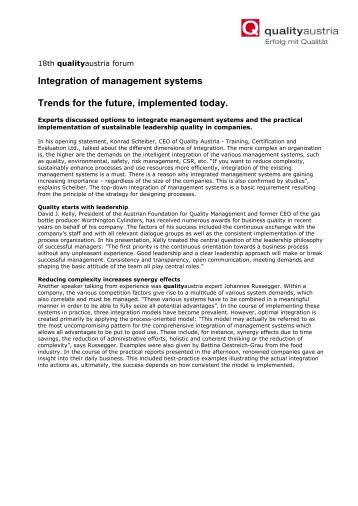 Integration of management systems Trends for the ... - Quality Austria
