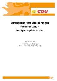 Europäische Herausforderungen für unser Land - CDU Baden ...