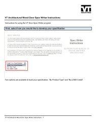 VT Architectural Wood Door Spec Writer Instructions - VT Industries Inc