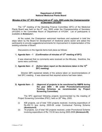 Department of AYUSH National Medicinal Plants Board ... - NMPB