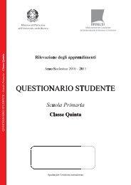 Copertina questionario studente classe V scuola primaria - Invalsi