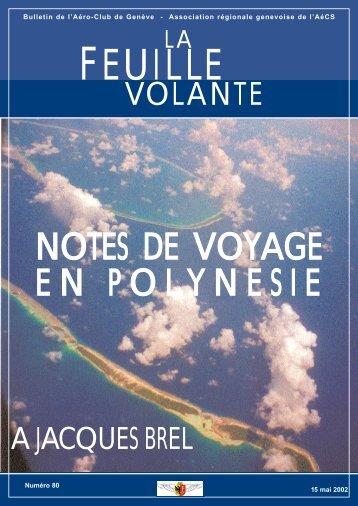 NOTES DE VOYAGE EN POLYNESIE - Aeroclub de Genève