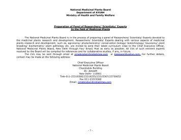 National Medicinal Plants Board Department of AYUSH ... - NMPB
