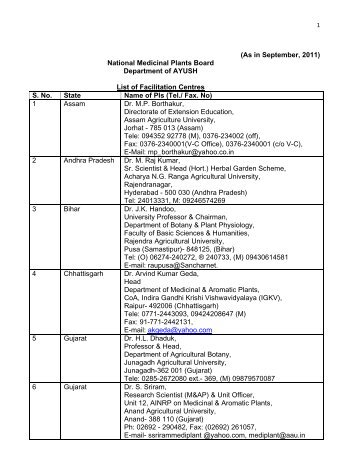 List of Facilitation Centres In September, 2011 - NMPB