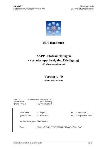 ZAPP-Statusmeldungen im Feldnummernformat - DAKOSY ...