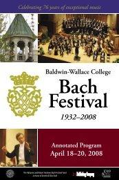 76th Baldwin-Wallace College Bach Festival - 2008 - Bach Cantatas