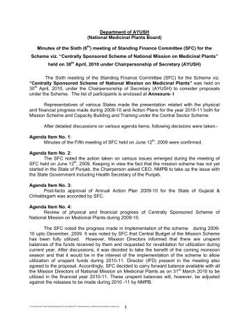 Department of AYUSH (National Medicinal Plants Board ... - NMPB