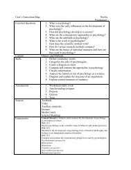 Psychology Curriculum Maps