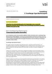 Ausstellung: 6. Vorarlberger Hypo-Bauherrenpreis