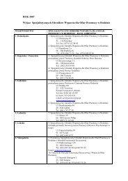 ROK 2007 Wykaz Specjalistycznych Ośrodków Wsparcia dla Ofiar ...