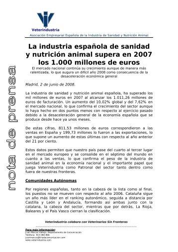 La industria española de sanidad y nutrición animal supera en 2007 ...
