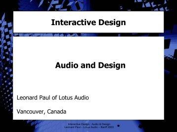 Interactive Design Audio and Design - Video Game Audio