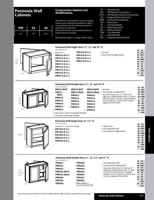 Kraftmaid 007 Peninsula Wall Cabinets, Kitchen Cabinet Sizes Kraftmaid