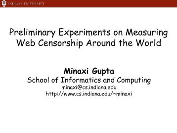 Preliminary Experiments on Measuring Web Censorship ... - Caida