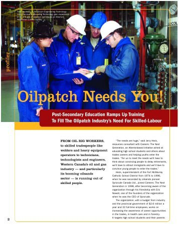 Oil Patch Needs You - Jobsearchonline